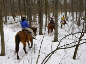 horseback riding in the winter