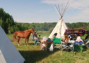 Our camp, tipi and herd friends