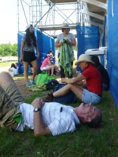 Very hot people waiting three hours for the jumping event to begin at the PanAm games