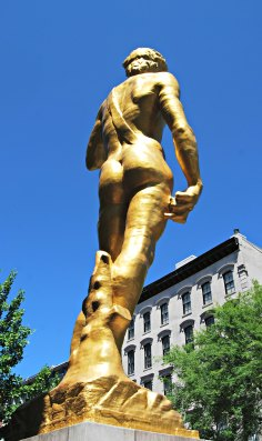 Gold Statue of David in downtown Louisville, Kentucky