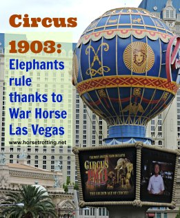 Balloon outside the Paris Hotel in Las Vegas advertising Circus 1903 - horsetrotting