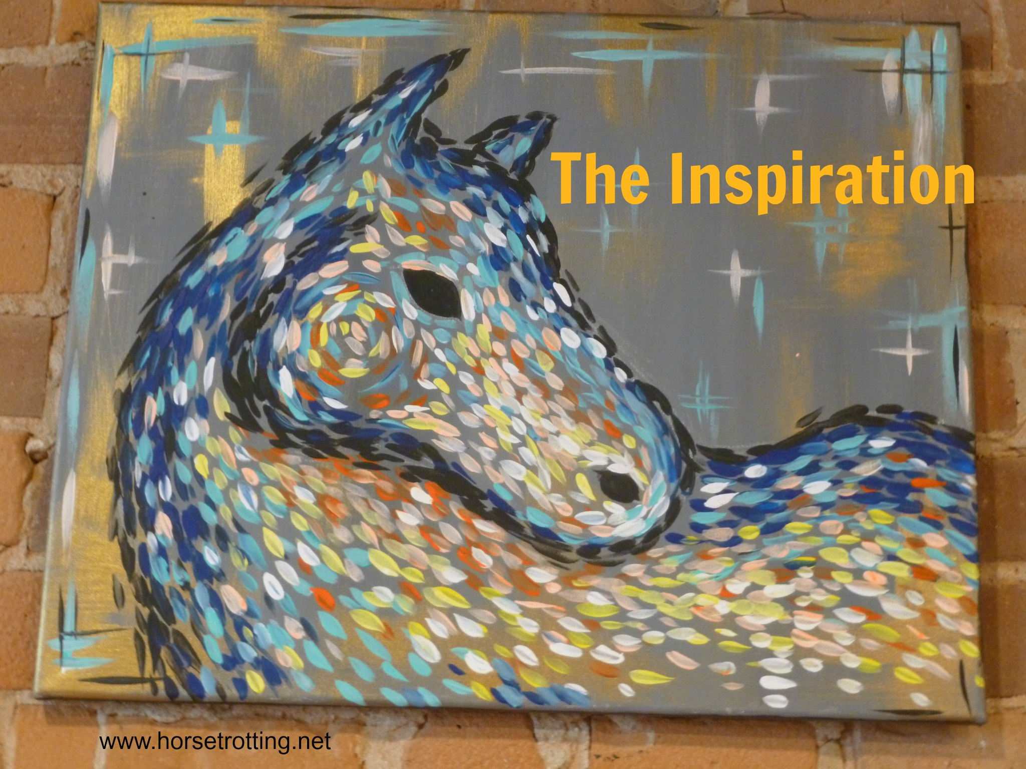 abstract horse painting at Pinot's Pallete