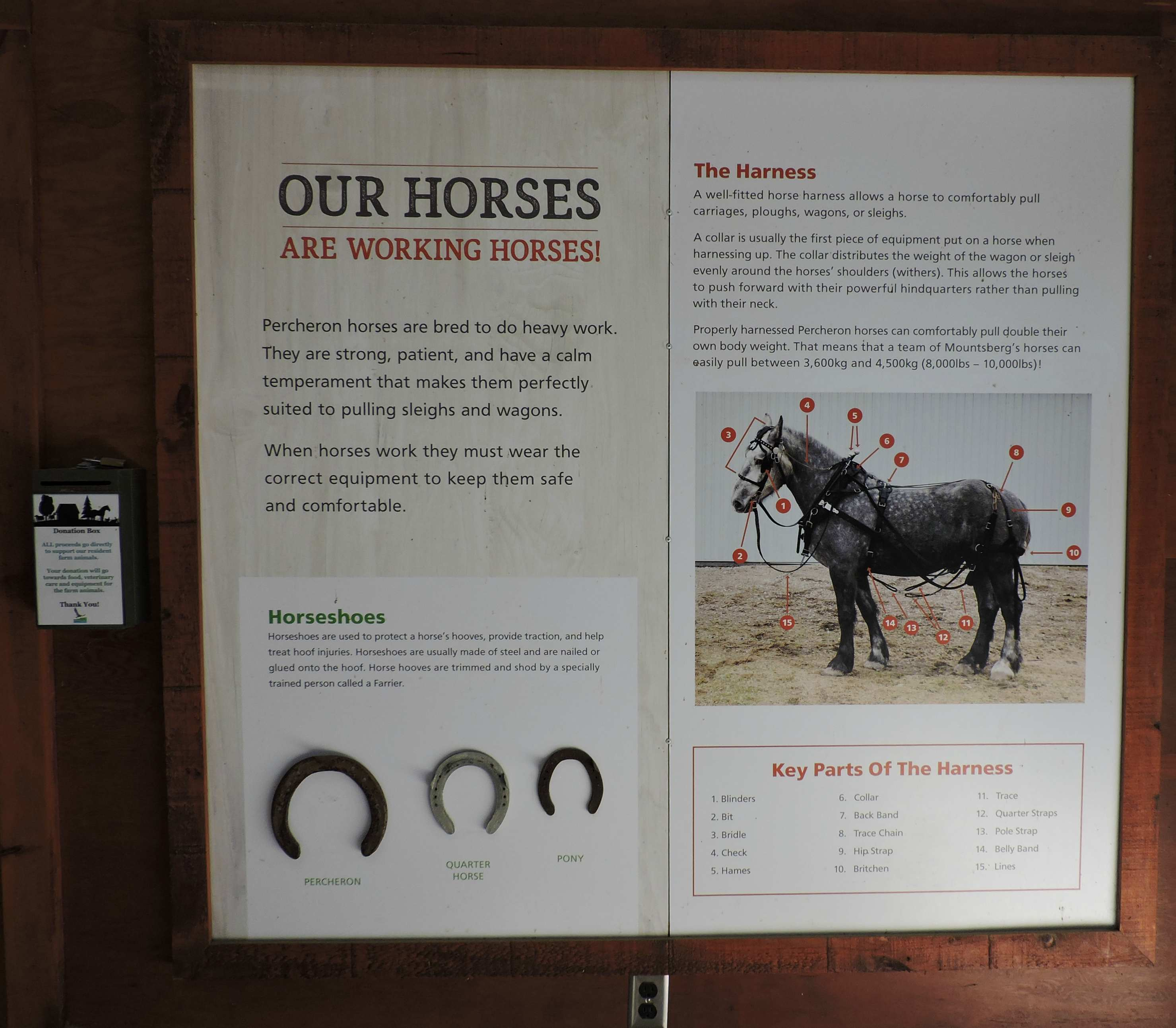 Percheron Sign at Mountsberg Conservation Area, Campbellville, Ontario,Canada